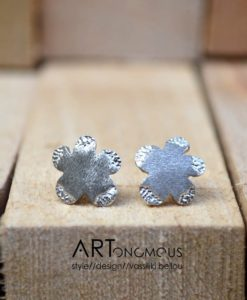 flowers silver stud earrings artonomous