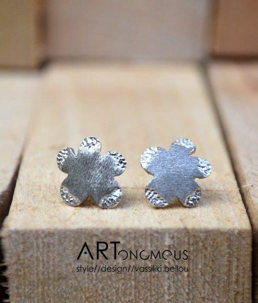 flowers silver stud earrings artonomous