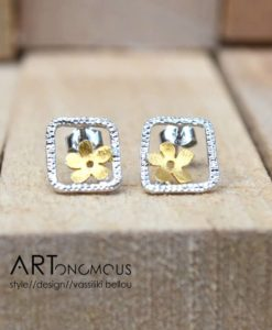 silver flower stud earrings artonomous