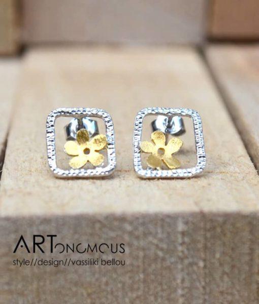 silver flower stud earrings artonomous