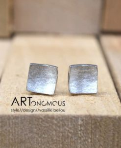 silver square earrings artonomous