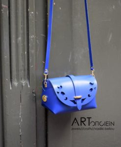 Δερμάτινο βαρελάκι με διάτρητο σχέδιο Passepartout – Μπλε ρουά