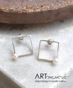 silver pearl earrings dedonaki artonomous