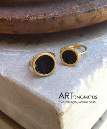 Πριγκιπώ δαχτυλίδι σμάλτο - Total Black