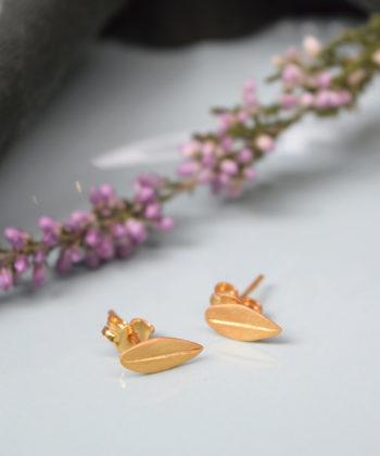 Σκουλαρίκια ασήμι επιχρυσωμένο φύλλο