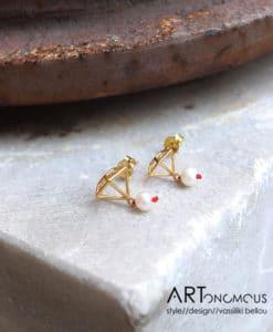 Σκουλαρίκια διαμάντι μαργαριτάρι Artonomous 1