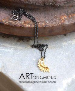 elsa wire pendant gold plated silver artonomous