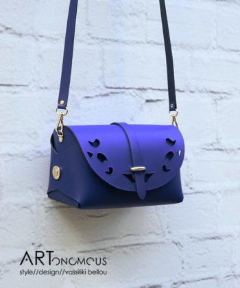 Δερμάτινη τσάντα βαρελάκι - Μπλε ρουά