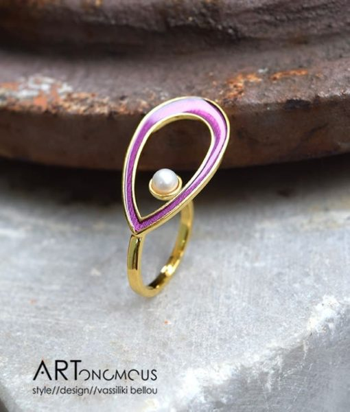 purple pearl ring A handmade artonomous