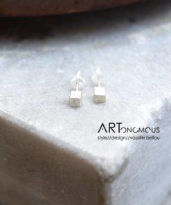 cube silver earrings tsaprali artonomous