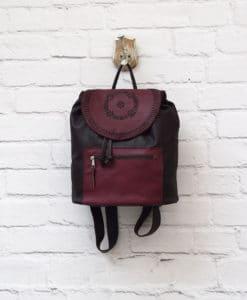 δερμάτινο σακίδιο γυναικεία τσάντα μπορντό Artonomous 1