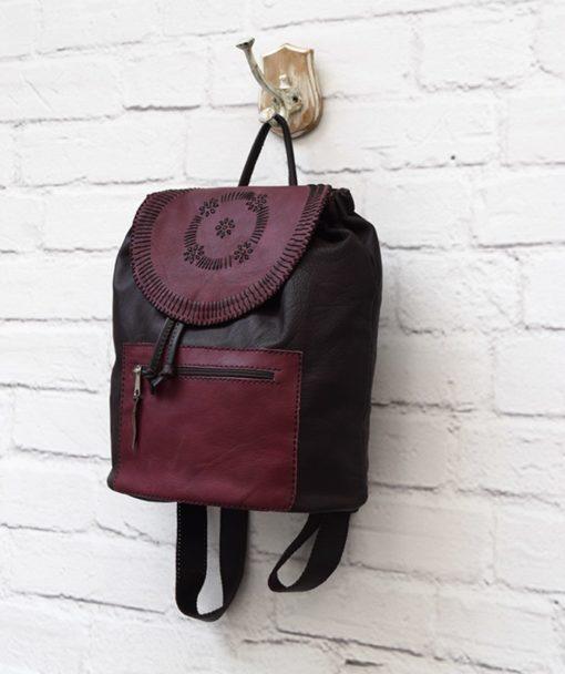 δερμάτινο σακίδιο γυναικεία τσάντα μπορντό Artonomous 2