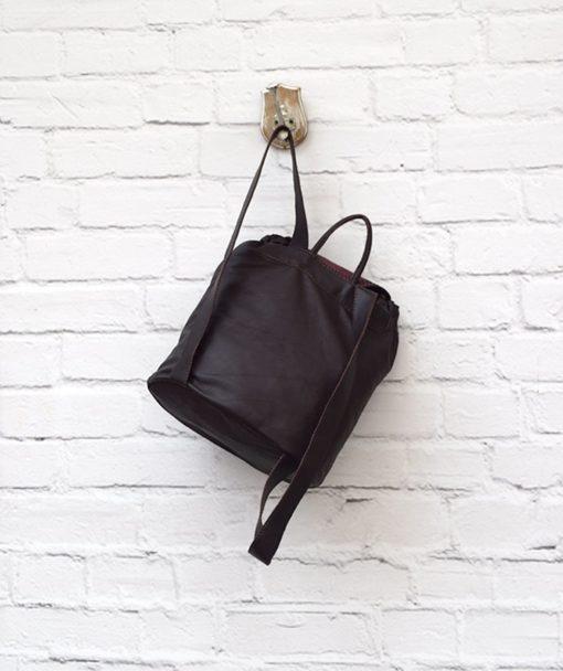 δερμάτινο σακίδιο γυναικεία τσάντα μπορντό Artonomous 3