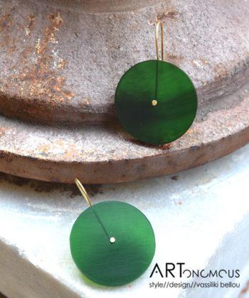 Σκουλαρίκια κύκλος plexiglass - Πράσινο