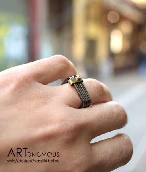 black silver square ring kampouri artonomous