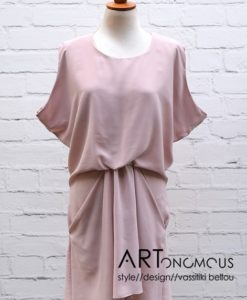 blush draped dress poeta artonomous