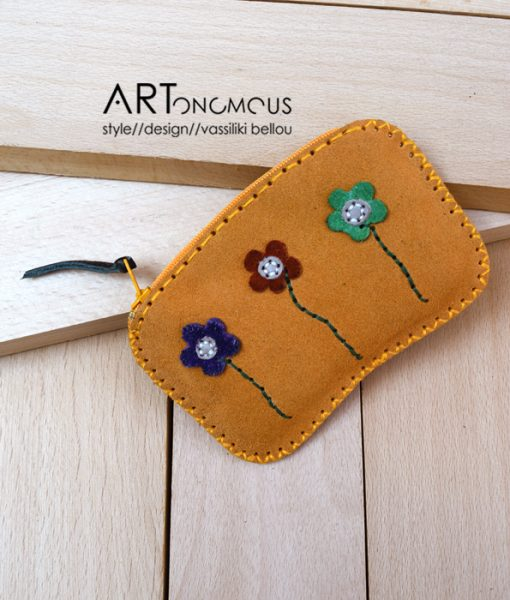 floral leather suede wallet artonomous