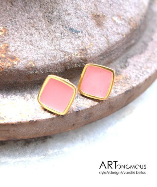 blush enamel earrings artonomous