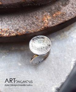 circular charm silver ring artonomous