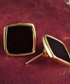 Enamel Black Stud Earrings Artonomous