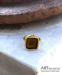 olive green enamel handmade ring artonomous