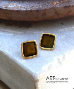 square green enamel earrings artonomous