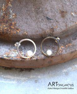 black silver pearl earrings A handmade artonomous