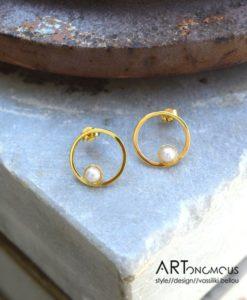 silver pearl earrings a handmade artonomous