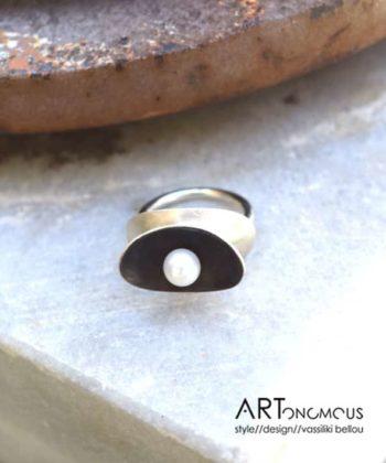 silver pearl ring cocoon areti artonomous