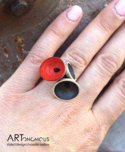 silver red coccon ring areti artonomous