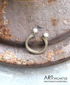 Δαχτυλίδι πέταλο ασήμι μαργαριτάρια