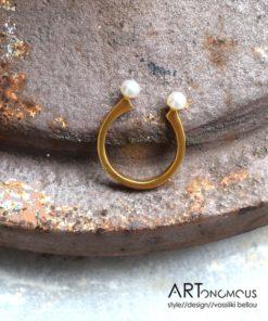 Δαχτυλίδι πέταλο επιχρυσωμένο μαργαριτάρια