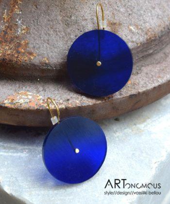 Σκουλαρίκια κύκλος plexiglass - Μπλε