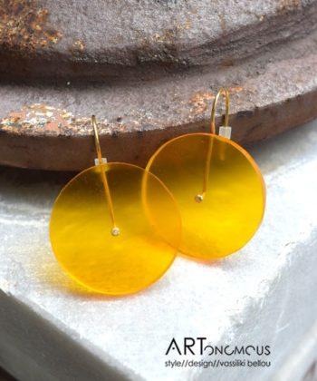Σκουλαρίκια κύκλος plexiglass - Κίτρινο