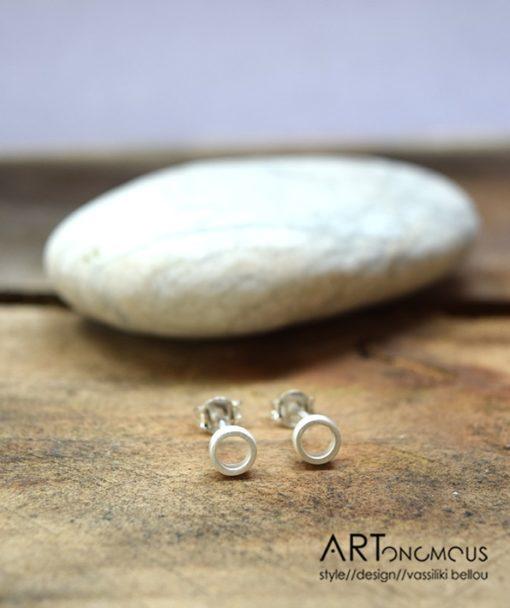 Ασημένια σκουλαρίκια κυκλάκι 002088 (2)