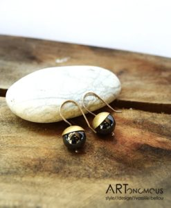 Ασημένια σκουλαρίκια με αιματίτη επίχρυσα