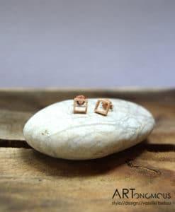 Ασημένια σκουλαρίκια τετράγωνο με ροζ χρύσωμα 002093