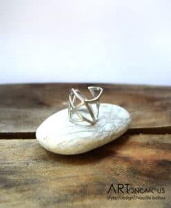 Ασημένιο δαχτυλίδι με γεωμετρικά σχήματα 002126