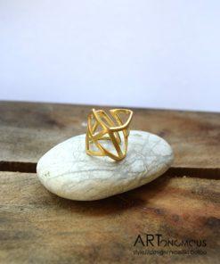 Ασημένιο δαχτυλίδι με γεωμετρικά σχήματα επίχρυσο 002127