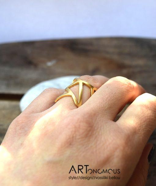 Ασημένιο δαχτυλίδι με γεωμετρικά σχήματα επίχρυσο 002127 (3)