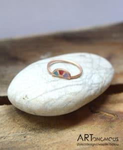 Δαχτυλίδι ασήμι με ροζ επιχρύσωμα & σμάλτο από τη συλλογή Aurora Palette 002082