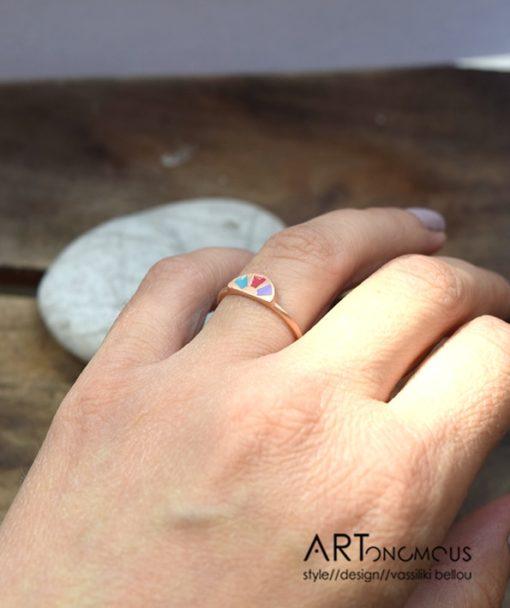 Δαχτυλίδι ασήμι με ροζ επιχρύσωμα & σμάλτο από τη συλλογή Aurora Palette 002082 (3)
