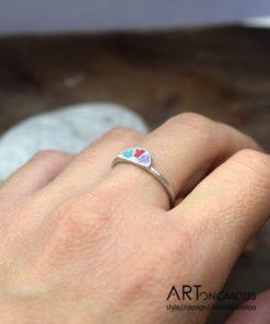 Δαχτυλίδι ασήμι με σμάλτο από τη συλλογή Aurora Palette 002081 (3)