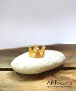 Πριγκιπώ δαχτυλίδι κορώνα επίχρυσο