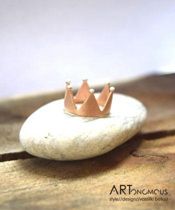 Πριγκιπώ δαχτυλίδι κορώνα ροζ
