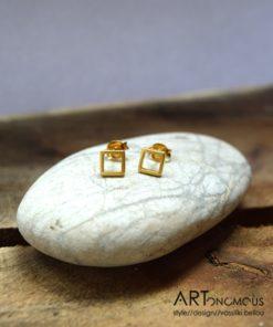 Επίχρυσα σκουλαρίκια τετράγωνο 002092