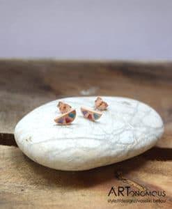 Σκουλαρίκια με ροζ επιχρύσωμα & σμάλτο από τη συλλογή Aurora Palette 002085