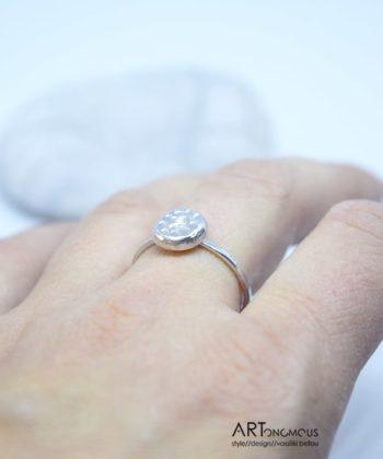 Δαχτυλίδι Ασημένιο Minimal με Κυκλάκι Medium