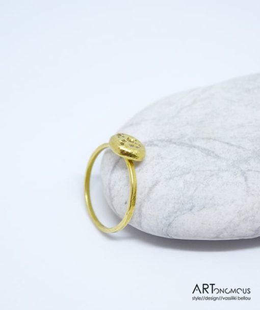 Ασημένιο δαχτυλίδι επίχρυσο 002148 (2)