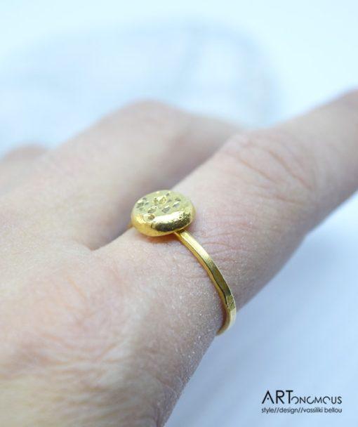 Ασημένιο δαχτυλίδι επίχρυσο 002148 (3)